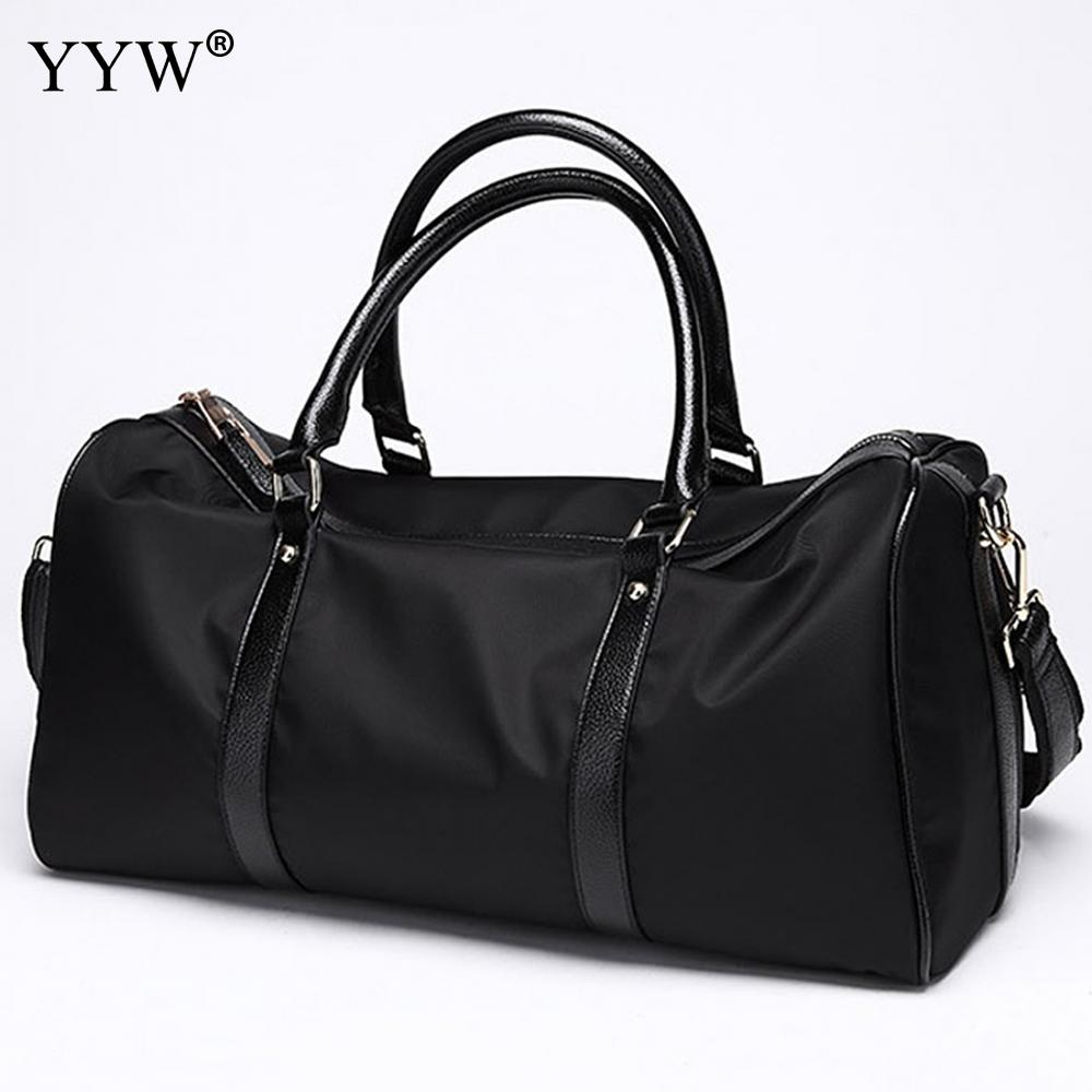 Black Large Capacity Tote Bag for Men Travel Shoulder Bags Casual Nylon & PU Leather Unisex Handbags Male Soft Crossbody Bag kadell unisex handbags for men large capacity portable shoulder bags travel bags package soft pu leather retro bags women