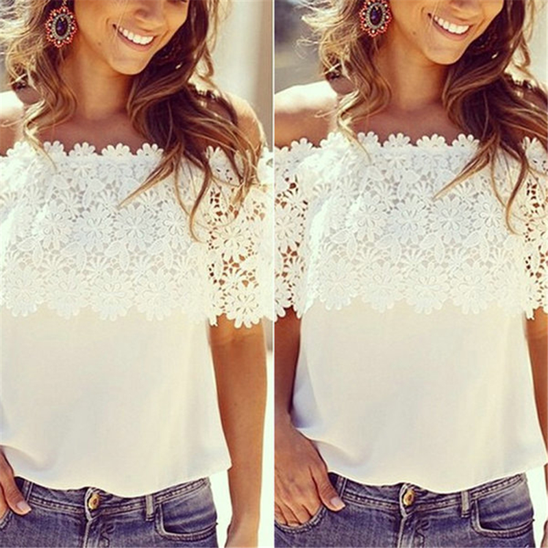 Hot Fashion Vrouwen Zomer Kant Haak Chiffon Shirt Off Shoulder - Dameskleding - Foto 3