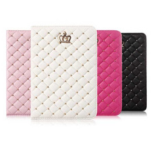 New Bling Crown Leather Case for iPad Mini 4 Protective Smart Stand Tablet Cover