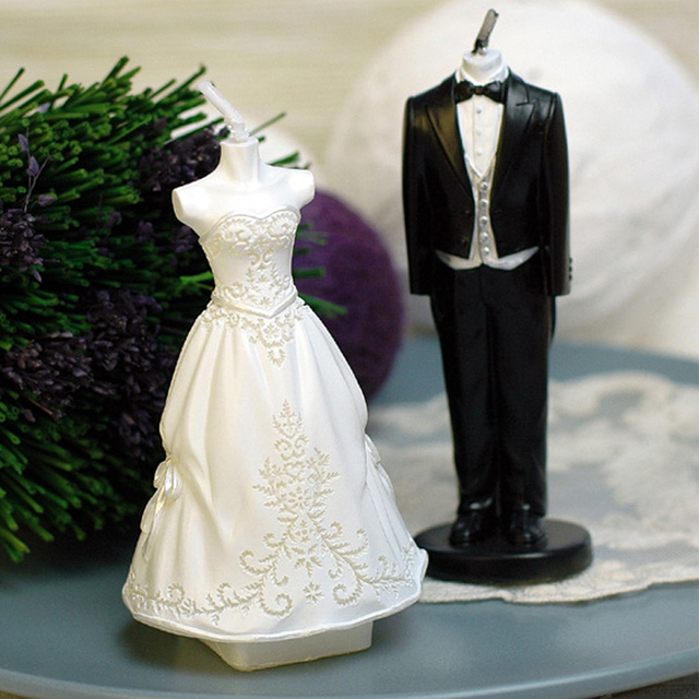 Luyou 4pcs Set Bride And Groom Wedding Dress Candle Soap Silicone Mold Chocolate Mould