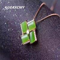 KJJEAXCMY boutique jewelry 925 silver inlaid jade jewelry, natural Hetian jade, Jasper Pendant, female Necklace