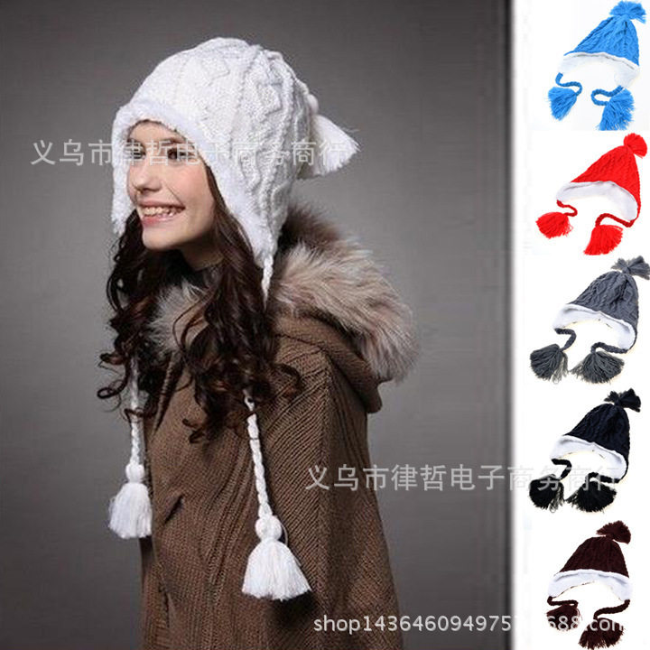 Beanie Direct Selling Limited Acrylic Adult Unisex Solid 2016 Cap Wholesale Korean Fashion Warm Winter Models Cute Knit Hat Ear