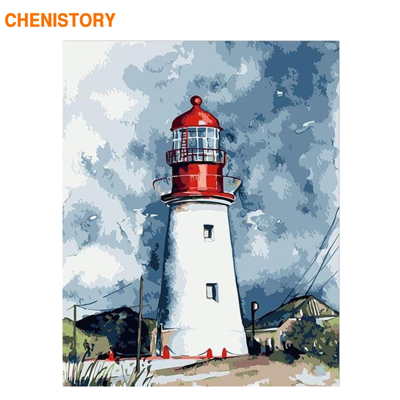 CHENISTORY 60x75cm Frame Lighthouse DIY Painting By Numbers Kit Landscape Coloring By Numbers Acrylic Canvas Painting For Gift