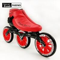 Профессиональный Скорость скейт обувь Для женщин/Для мужчин роликовых коньков роликовых коньках ботинки спортивные Patins ролик 3 Родас 125 мм