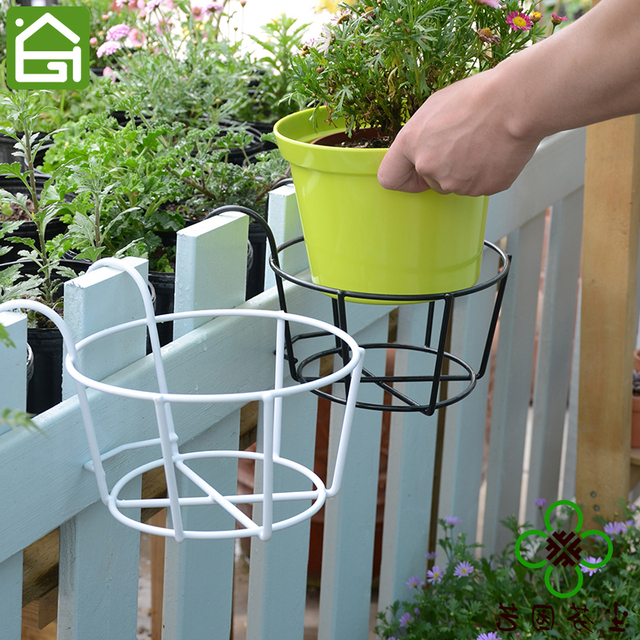 Iron Hanging Flower Pot Office Rail Plant Holder Home Balcony Flower Vase  Garden Accessories