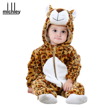 MICHLEY Baby Rompers New arrived Cartoon One Piece Jumpsuits Infant Boys Hooded Autumn Clothes Girls Winter Warm Clothing QWF-1