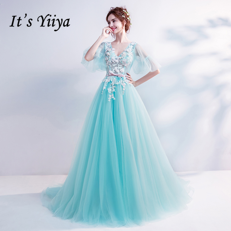 It's YiiYa Flower   Evening     Dresses   Blue Illusion V-neck Party Formal   Dress   Tulle A-line Floor-length Puff Short Sleeves LX823