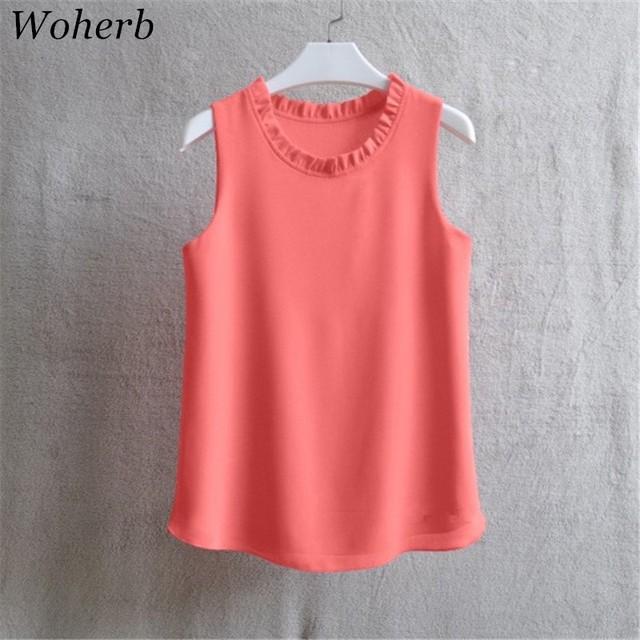 Woherb 21 Colors Solid Ruffle Chiffon Blouse Women 2019 Summer Fashion Vest Blusas Casual Loose Sleeveless Ladies Tops Shirt