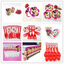 Disney Minnie Mouse Birthday Party Decoration Set Mickey Party Supplies Flags Tablecloth Straws Cups Plates Candy Popcorn Box(China)