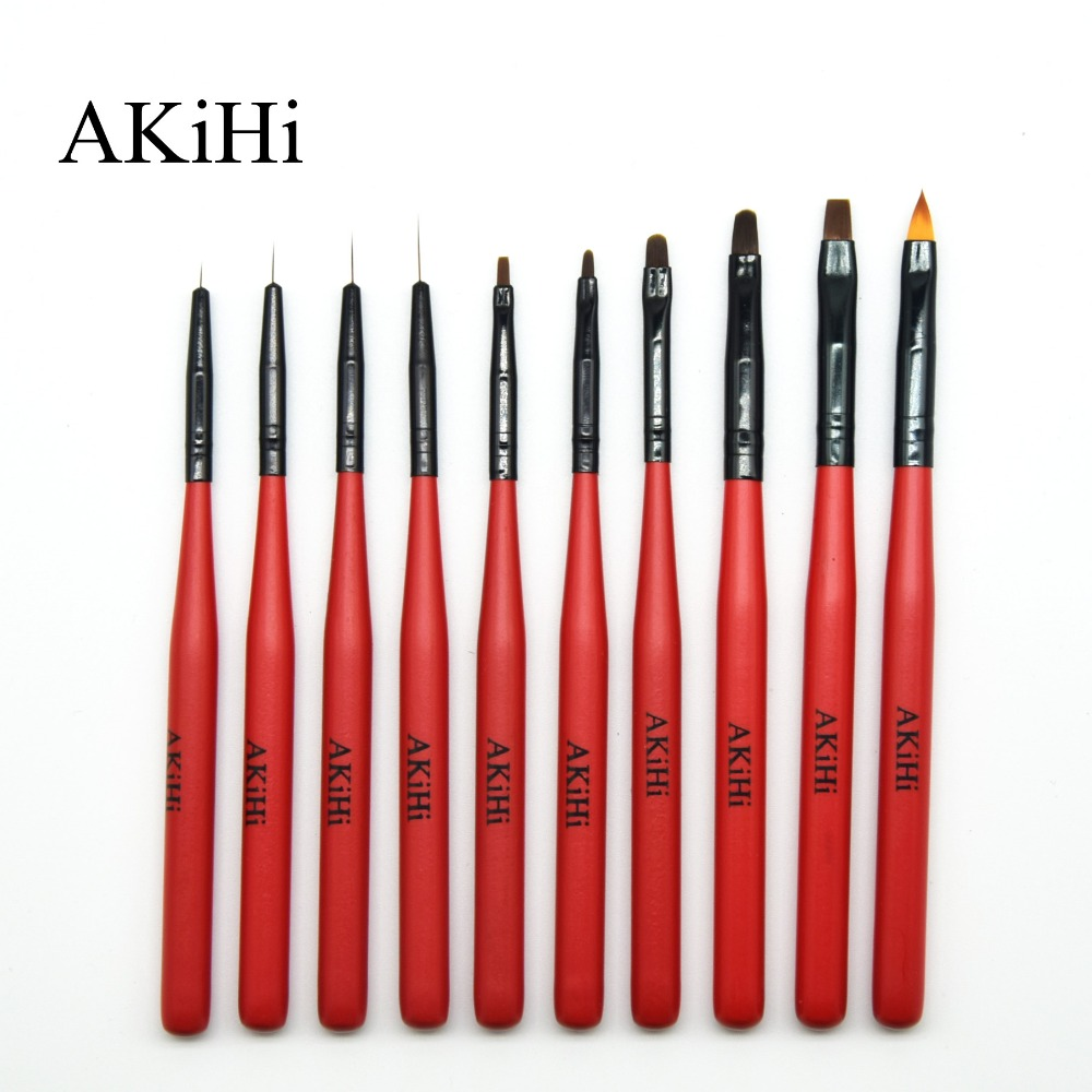 AKiHI Nail Art Painting Draw Brush With Metal Cap Professional Acrylic UV Gel Nail Polish Manicure Pen Liner Flat Round