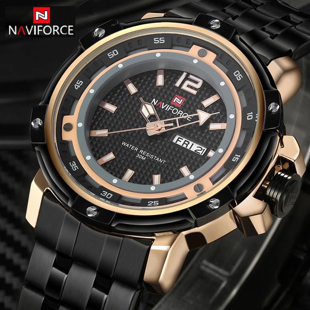 NAVIFORCE Marca Completa de Aço Relógio de Quartzo dos homens Do Homem Do Exército Militar Relógios Homens Esportes relógios de Pulso À Prova D' Água Relogio masculino