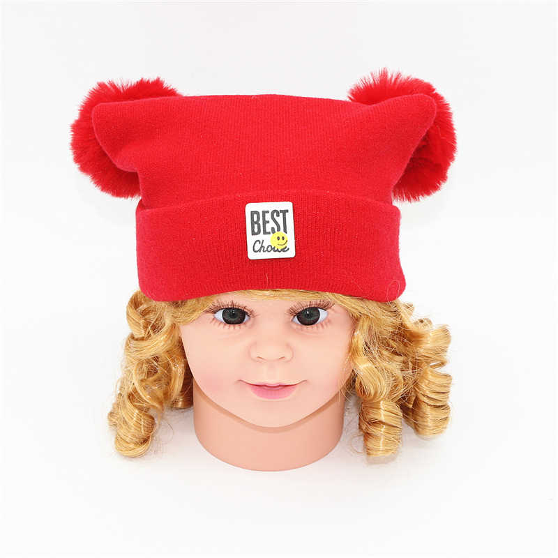 a41ccae3983 newborn Baby kids girl hat cap for winter warm thickened Crochet Knit girl  hats fur pom