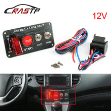 RASTP - 12V Car Ignition Switch Engine Start Push Button 2 Toggle Racing Panel RS-BOV005