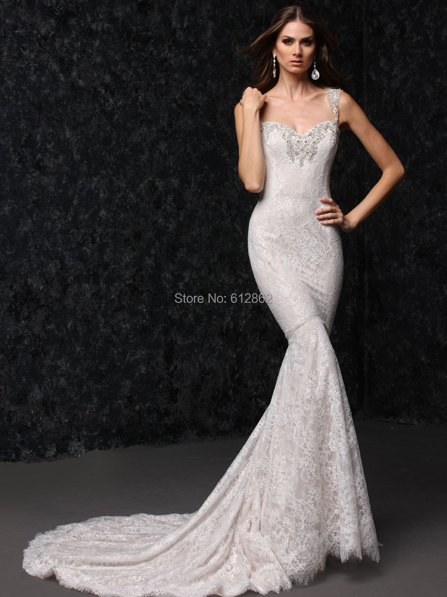 Sleeveless Long Tail Fitted Mermaid Lace Wedding Dress Dresses For
