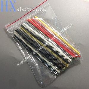 Free shipping 18PCS 40P 2.54mm Male Single Row Pin Header 1*40P 6 Color each 3pcs