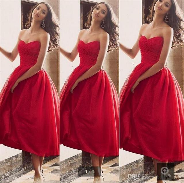 1c2b6b5adf1 2016 Hot Sexy Red Satin organza ball gown tea length Prom Dresses short  Elegant Sweetheart Pleated somple Girls  prom gowns