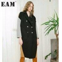 EAM 2018 New Spring Lapel Long Sleeve Solid Color Black Camel Split Joint Loose Big