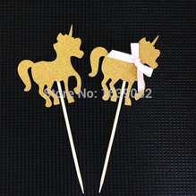 30pcs/lot Free Shipping Popular Gold Glitter Unicorn Cupcake Topper Party Decor