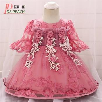 dcbf3938d DE melocotón 2019 nuevo bebé recién nacido vestido DE princesa bebé niña  bordado flor 1 año cumpleaños fiesta boda Vestidos DE Bebé Vestidos