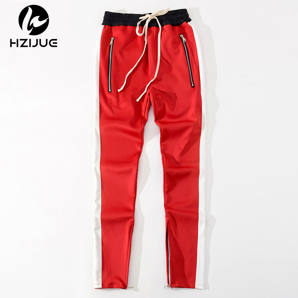 HZIJUE 2018 men pants Striped Kint Waistband Track Pants High Quality Zipped Pockets Ankle Slim Fit Joggers for men 3 colors