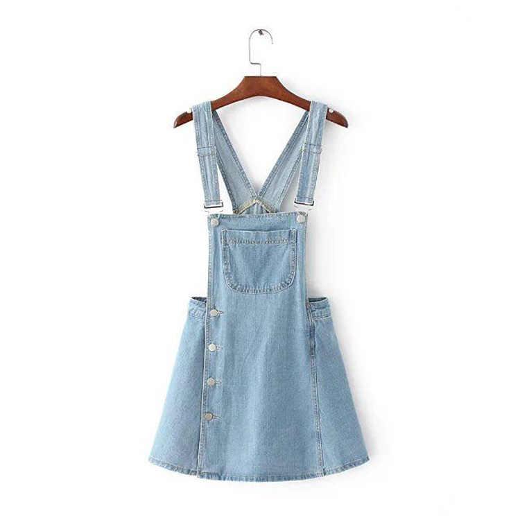 71cea28f64 ... 2018 Summer Women Blue Denim Jumper Dress Size Button Pocket Adjustable  Strap Jeans Bib Overall Dress ...