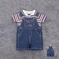 2 Unids 2016 Verano Bebés Baby Boys Cloth Set Camiseta Top + Pantalones Del Babero Del Mono de Mezclilla de Vestuario General