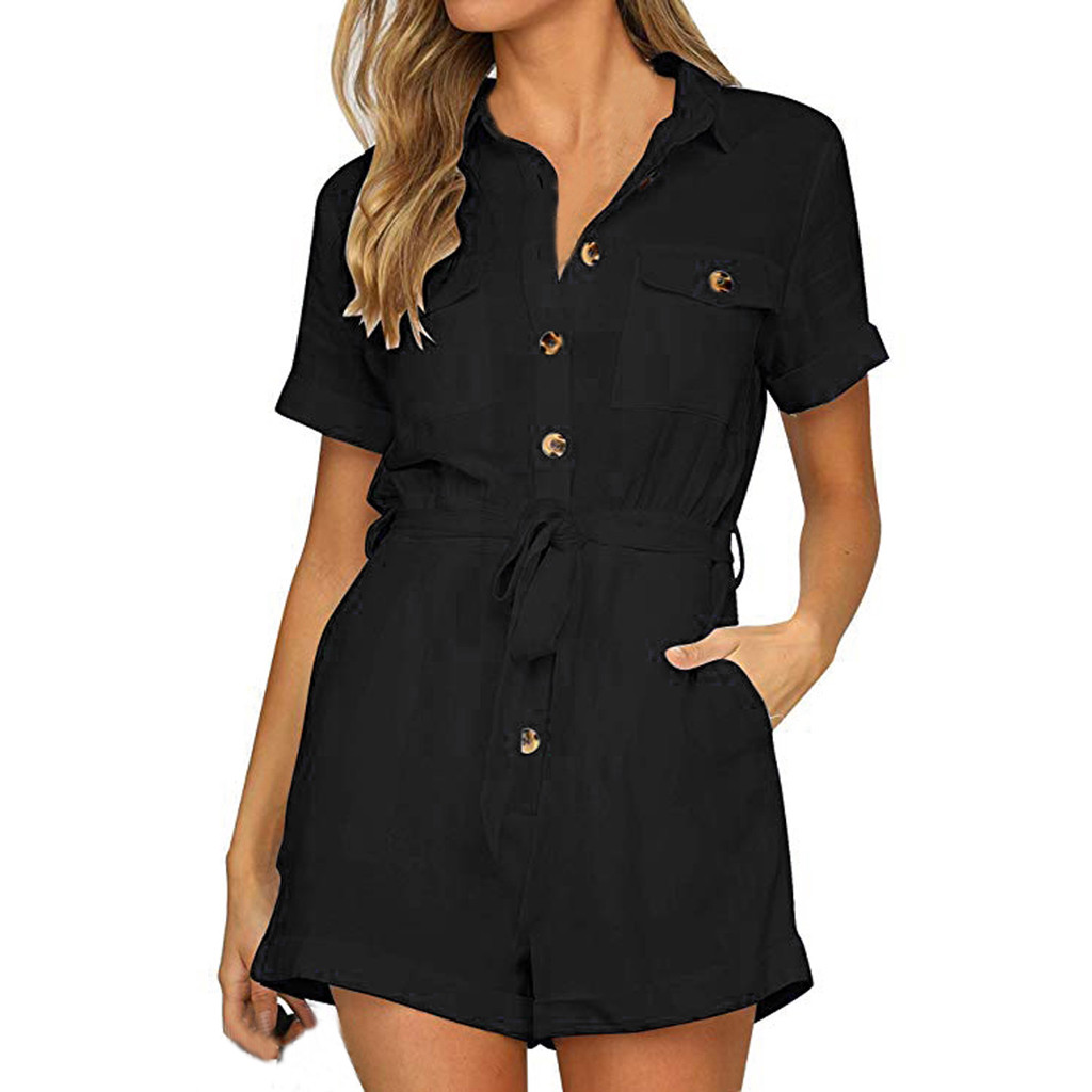 Short Sleeve Summer Bodysuits Boho Beach Wear Female Overall Female   Jumpsuit   Pocket Button Notched Casual Women Playsuit