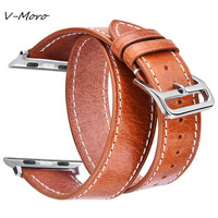 For Apple Watch 38MM Bands V MORO Genuine Leather For Iwatch Band 42mm Straps Double Tour