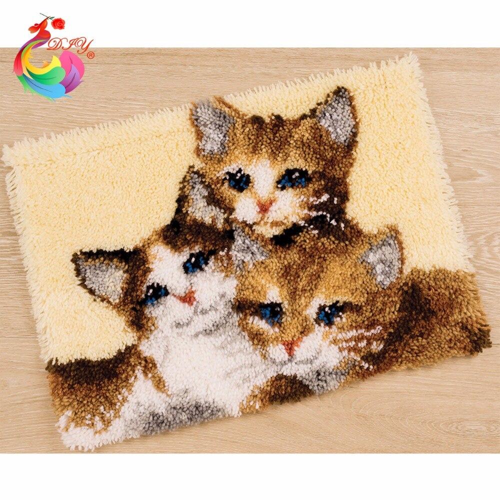 Haken Teppich Kit DIY Unfinished Häkeln Garn Matte Rasthaken teppich Kit Kissen Teppich Set druck Leinwand Katzen teppiche und teppiche
