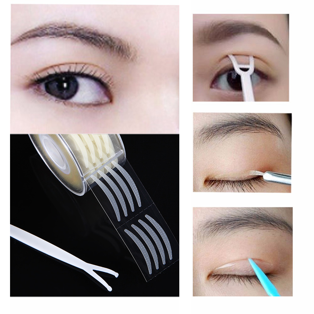 600pcs Eyelid Tape Sticker Invisible Double Fold Eyelid Paste Clear Beige Stripe Self-adhesive Natural Eye Tape Makeup Tools