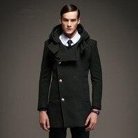 Бренд мужской шерстяное пальто 2018 осень зима теплый капюшон пальто для будущих мам для мужчин s повседневное бизнес 50% Шерсть Тренч