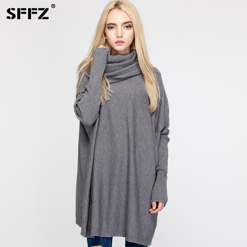 SFFZ Women Sweaters and Pullovers Batwing Sleeve Scarf Collar Designer Fashion Female Loose Comfortable Knitted Sweater Tops