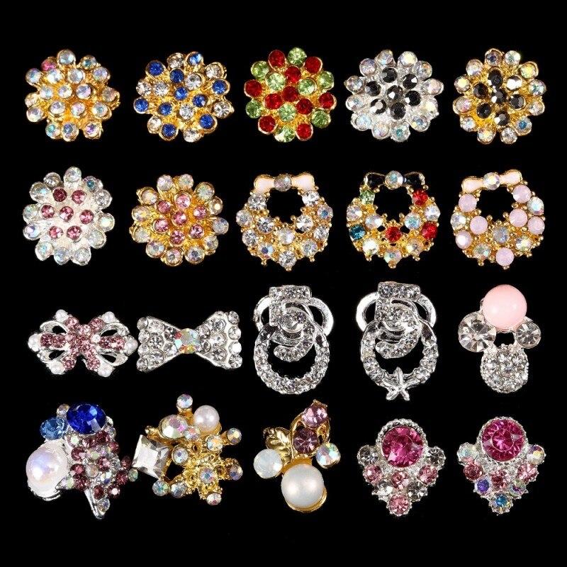 glitter ab strass jóias prego peças de metal-3321