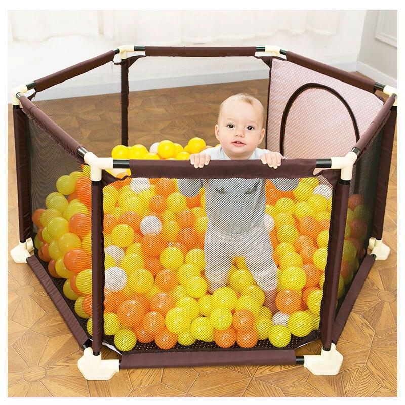 0 ~ 5 ans bébé enfants en plastique parc enfant en bas âge ramper pliant Playinghouse Protection sécurité soins clôture parcs avec des balles d'océan