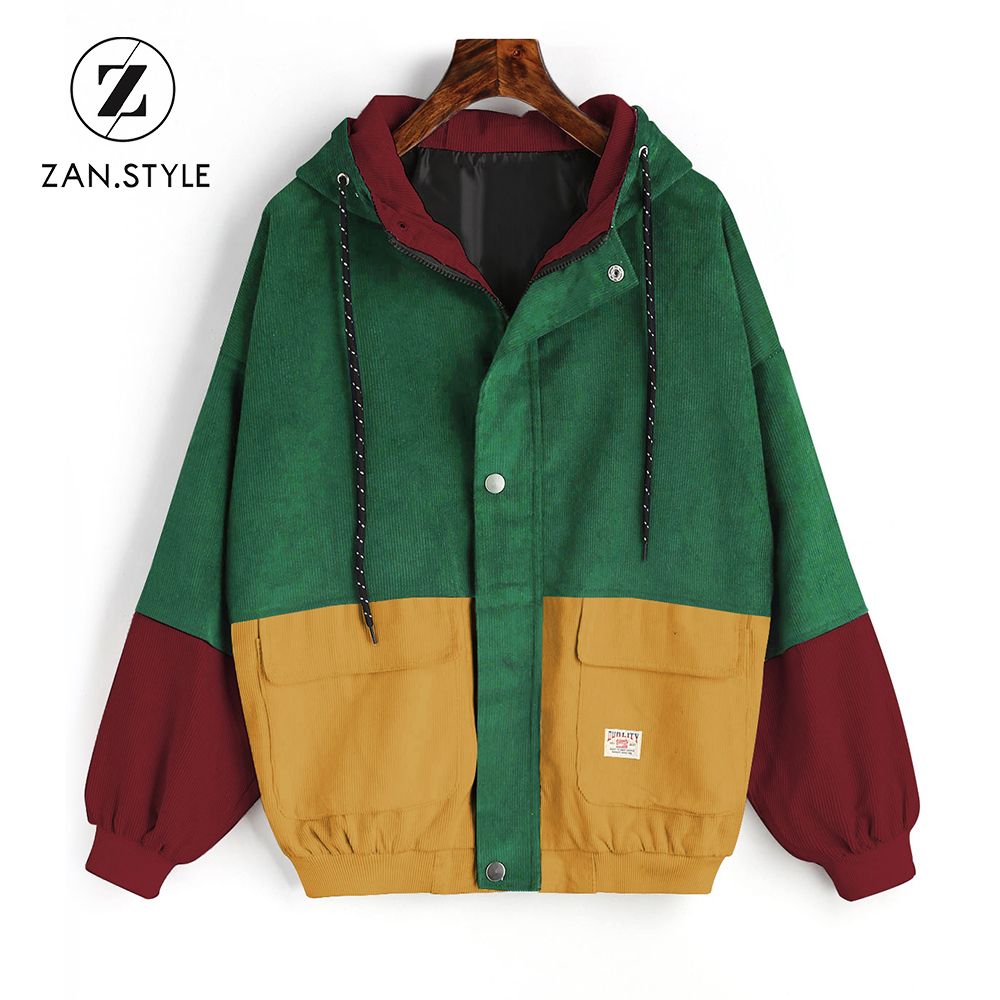 ZAN.STYLE Winter Warm Color Block Hooded Corduroy Jacket Drawstring ...