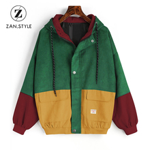 ZAN.STYLE Winter Warm Color Womens Coats Harajuku Block Hooded Corduroy New Jacket Drawstring Hit Color Patched Pocket Thick Basic