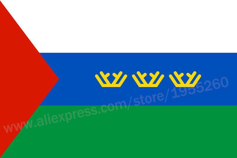 Flag af Tyumen Oblast 3x5 fødder 90x150 cm flag af de føderale objekter af Rusland bannere