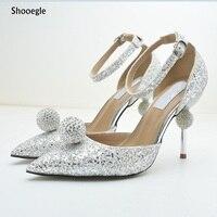 Роскошный дизайн со стразами вечерние свадебные туфли пикантные с острым носком тонкие женские туфли лодочки на высоком каблуке серебро че