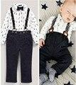 Bebe 2 из двух частей комплект экипировка новорожденный мальчик одежды комплект малыша топ + нагрудник брюки в целом костюм дети комплект одежды DY090A