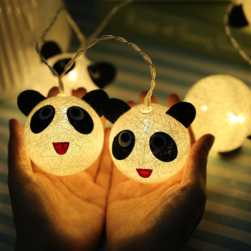 Night Light Fairy LED String Light Panda Cotton Ball Battery Power Luminaria For Holiday ...