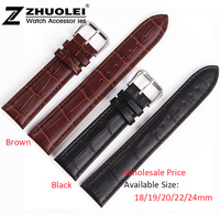 Wholesale Price 18mm 19mm 20mm 22mm 24mm High Quality Soft Genuine Leather Strap Steel Buckle Wrist Watch Band