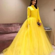 41500e7b1fc36 Sarı Kat Uzunluk Akşam Parti Elbise 2019 A-line Uzun Kollu Saten Örgün  Dubai Suudi Arap Uzun Zarif Resmi balo elbisesi