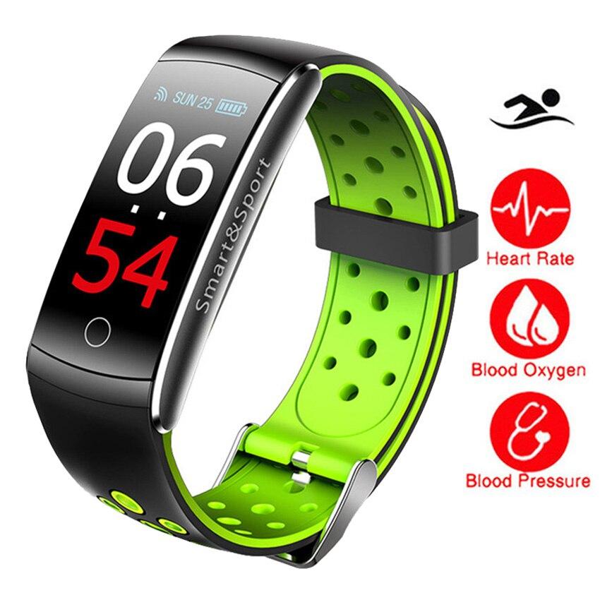 IP68 nadar Color Smart Touch reloj HR/BP/O2 Smart Wristbands Monitor Fitness pulsera para IOS/Xiao mi/Honor PK mi banda 2/Fit Bit 3