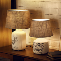 American Style Table Lamps Modern Cloth Lampshade Ceramic Desk Lamp Study Room Warm Bedside Table Light