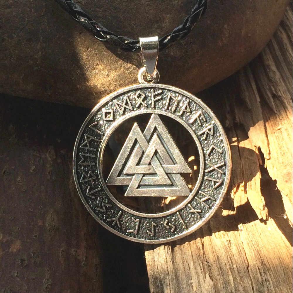 Słowiańska norwegia Valknut pagan wisiorek amulet mężczyźni naszyjnik skandynawska biżuteria wikingów Odin's Symbol Norse Viking Warrior