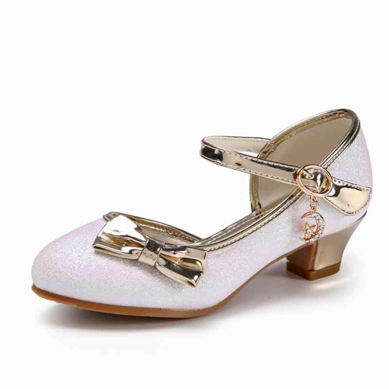 882b825dad Children High Heels Shoes Spring New Girls Bowtie Sandals Kids Casual  Leather Shoes Princess Dance Shoes For White Pink Gold