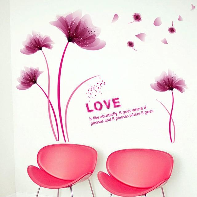 Blühende Lila Romantische Blume Wandaufkleber Liebe Familie Baum Wand  Poster Schlafzimmer Wohnzimmer Tv Hintergrund Wanddekoration