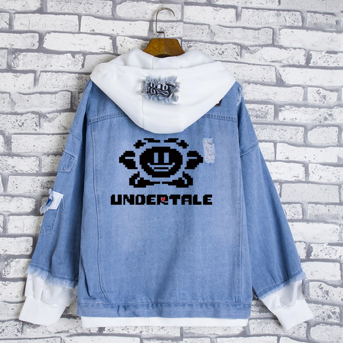 Fashion Jeans Coat Anime Undertale sans Cosplay Casual Jacket Spring Autumn Hooded Sweatshirt Unisex Student Denim Outwear