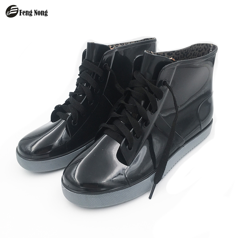 feng Nong new arrival rain boots waterproof flat with shoes woman rain woman water rubber ankle boots lace up botas qingyue333