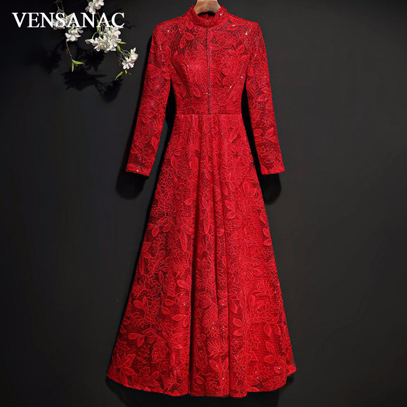 VENSANAC Vintage High Neck Red Embroidery A Line Sequined Long   Evening     Dresses   2018 Lace Long Sleeve Party Prom Gowns